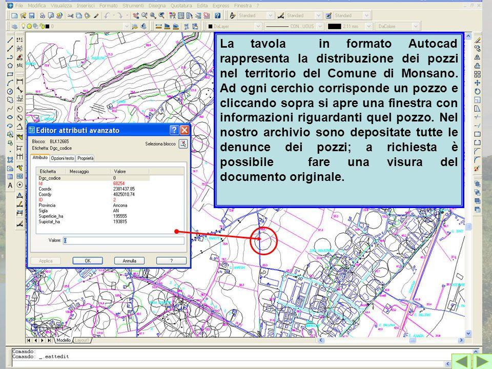 La tavola in formato Autocad rappresenta la distribuzione dei pozzi nel territorio del Comune di Monsano. Ad ogni cerchio corrisponde un pozzo e clicc
