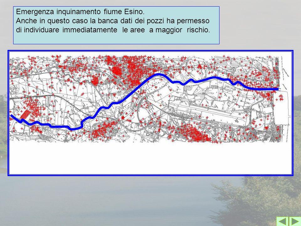 Emergenza inquinamento fiume Esino. Anche in questo caso la banca dati dei pozzi ha permesso di individuare immediatamente le aree a maggior rischio.