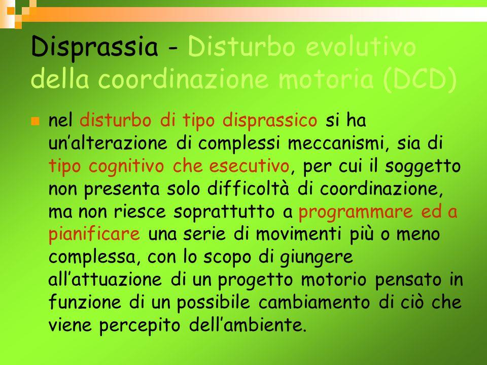 Disprassia - Disturbo evolutivo della coordinazione motoria (DCD) Nelle definizioni di Disturbo evolutivo della funzione/coordinazione motoria (DCD) , date dall'ICD 10 e dal DSM-IV, la componente cognitiva , pur essendo menzionata, non rappresenta un aspetto prioritario.