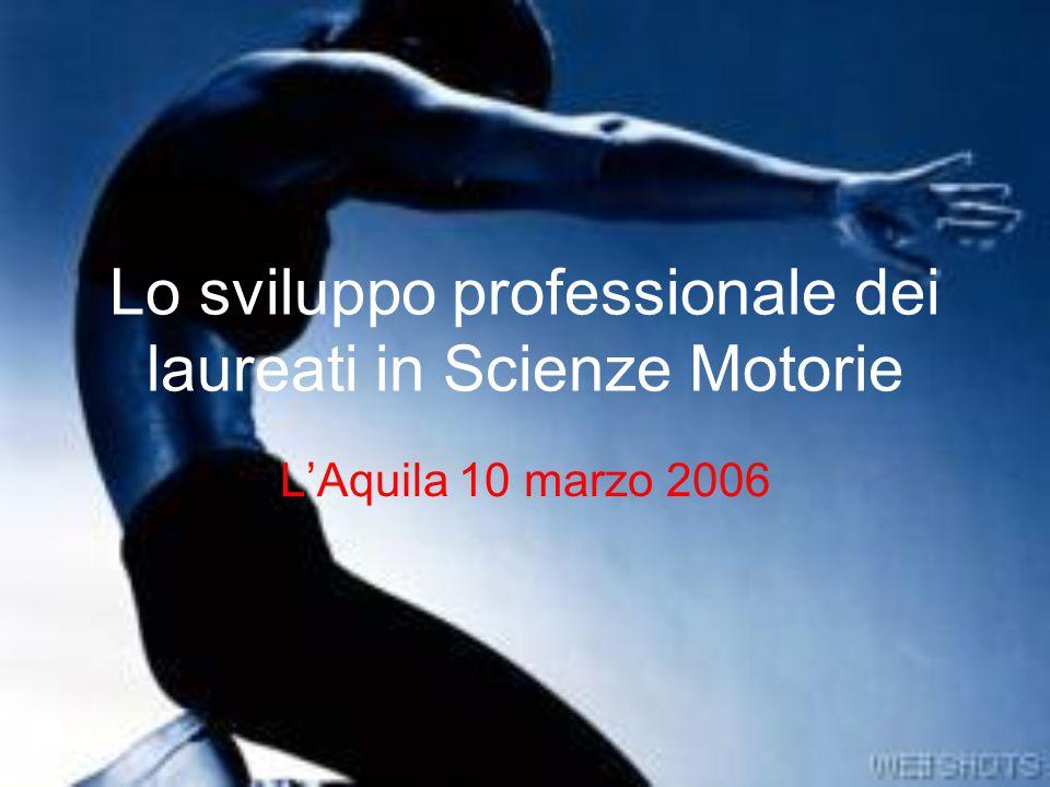 Lo sviluppo professionale dei laureati in Scienze Motorie L'Aquila 10 marzo 2006