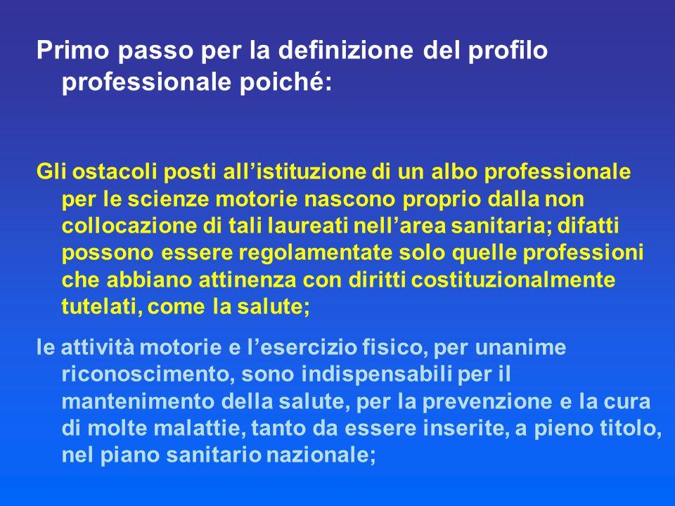 Primo passo per la definizione del profilo professionale poiché: Gli ostacoli posti all'istituzione di un albo professionale per le scienze motorie na