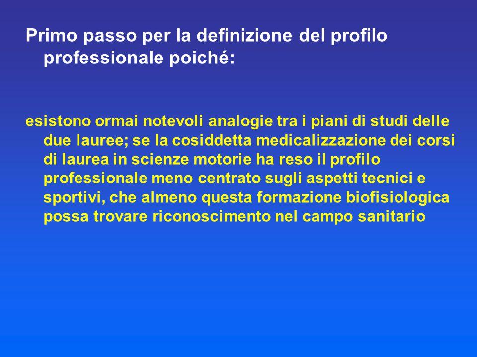 Primo passo per la definizione del profilo professionale poiché: esistono ormai notevoli analogie tra i piani di studi delle due lauree; se la cosidde
