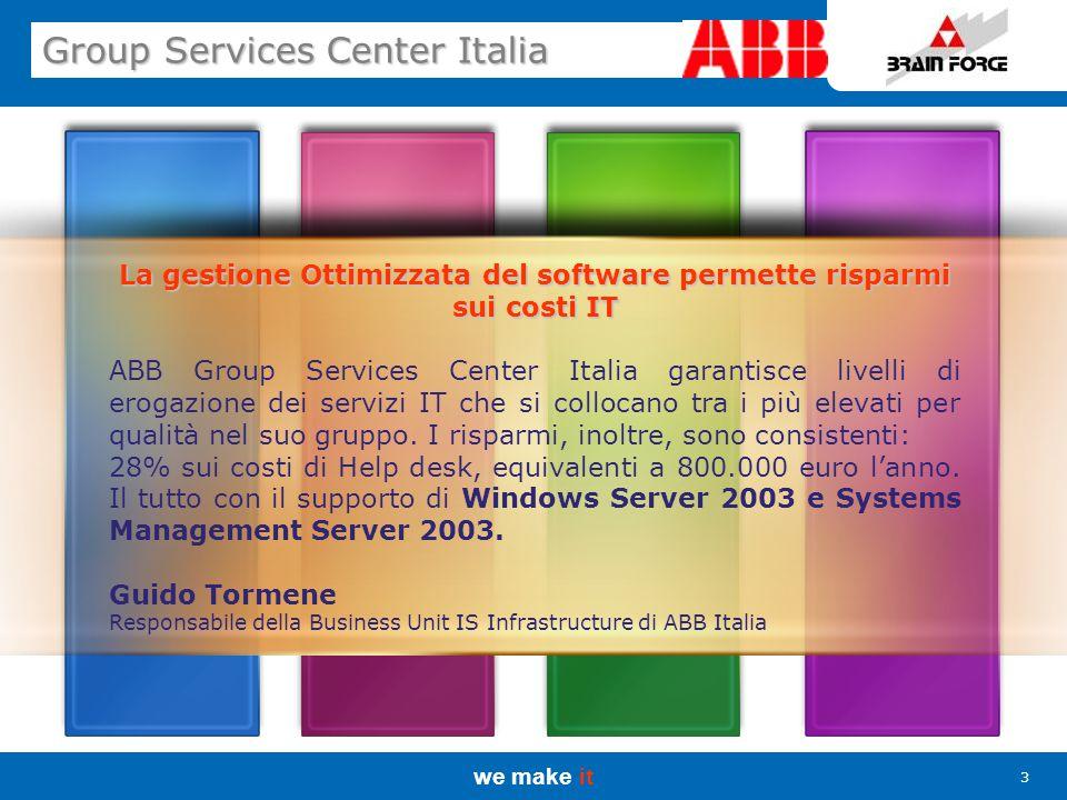 we make it 4 Group Services Center Italia ABB Group Services Center Italia ABB è leader mondiale delle tecnologie per l'energia e l'automazione.
