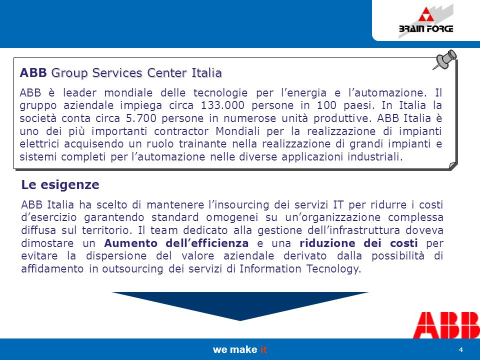 we make it 4 Group Services Center Italia ABB Group Services Center Italia ABB è leader mondiale delle tecnologie per l'energia e l'automazione.