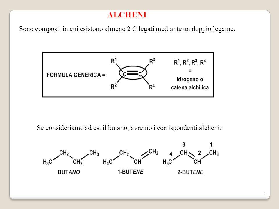 1 ALCHENI Sono composti in cui esistono almeno 2 C legati mediante un doppio legame. Se consideriamo ad es. il butano, avremo i corrispondenti alcheni