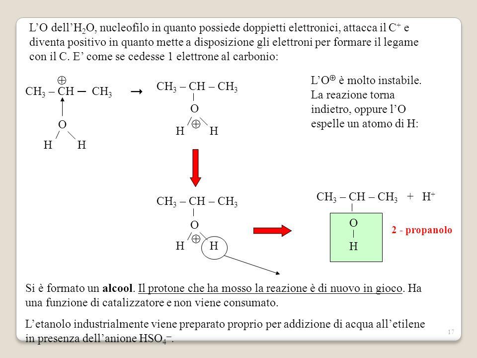 17 CH 3 – CH ─ CH 3   O  H H  CH 3 – CH – CH 3  O H H  L'O dell'H 2 O, nucleofilo in quanto possiede doppietti elettronici, attacca il C + e div