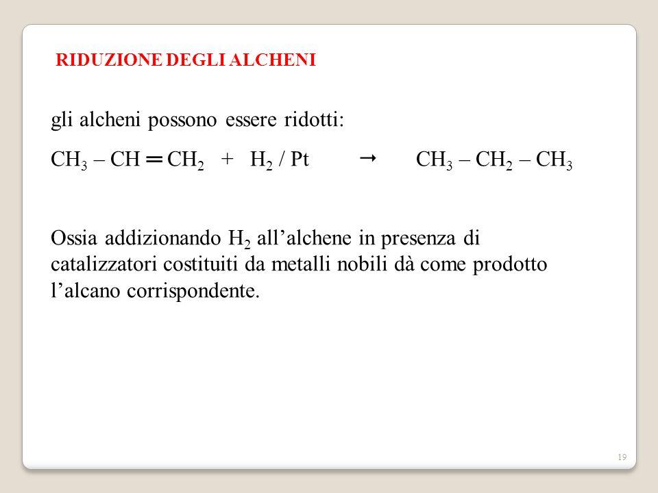 19 RIDUZIONE DEGLI ALCHENI gli alcheni possono essere ridotti: CH 3 – CH ═ CH 2 + H 2 / Pt  CH 3 – CH 2 – CH 3 Ossia addizionando H 2 all'alchene in