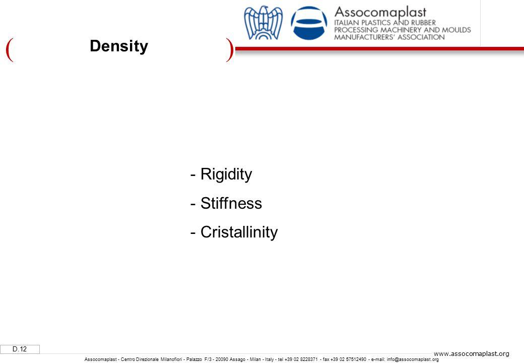 )( D.12 Assocomaplast - Centro Direzionale Milanofiori - Palazzo F/3 - 20090 Assago - Milan - Italy - tel +39 02 8228371 - fax +39 02 57512490 - e-mail: info@assocomaplast.org www.assocomaplast.org Density - Rigidity - Stiffness - Cristallinity