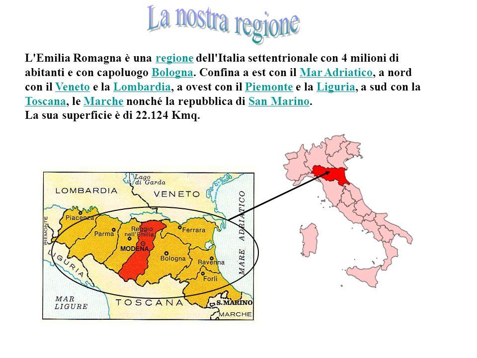 L'Emilia Romagna in Italia it L Emilia Romagna è una regione dell Italia settentrionale con 4 milioni di abitanti e con capoluogo Bologna.