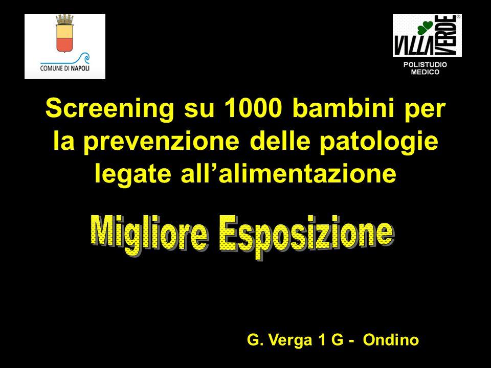 Screening su 1000 bambini per la prevenzione delle patologie legate all'alimentazione G.