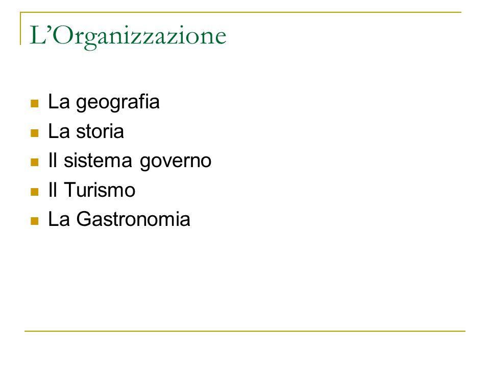 L'Organizzazione La geografia La storia Il sistema governo Il Turismo La Gastronomia