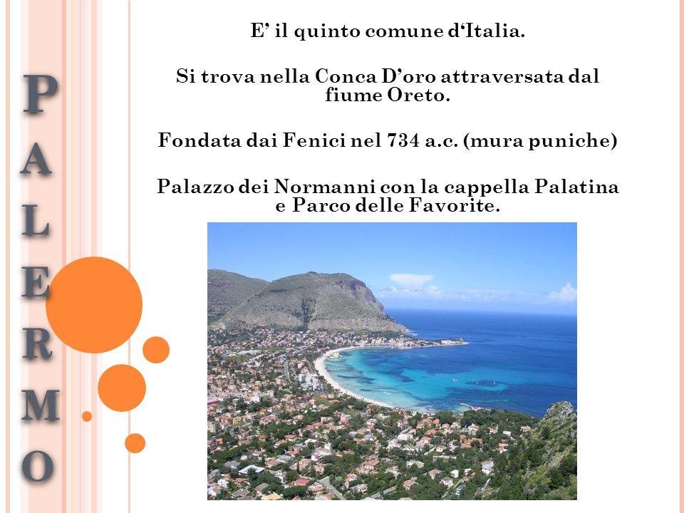 PALERMOPALERMOPALERMOPALERMO E' il quinto comune d'Italia.