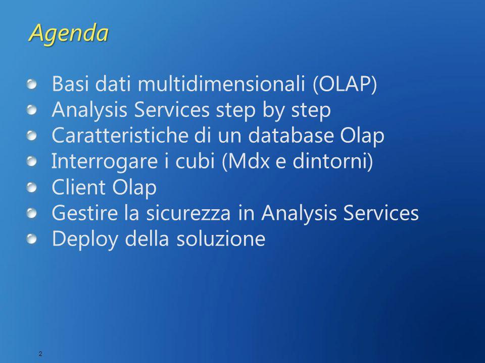 2 Agenda Basi dati multidimensionali (OLAP) Analysis Services step by step Caratteristiche di un database Olap Interrogare i cubi (Mdx e dintorni) Client Olap Gestire la sicurezza in Analysis Services Deploy della soluzione