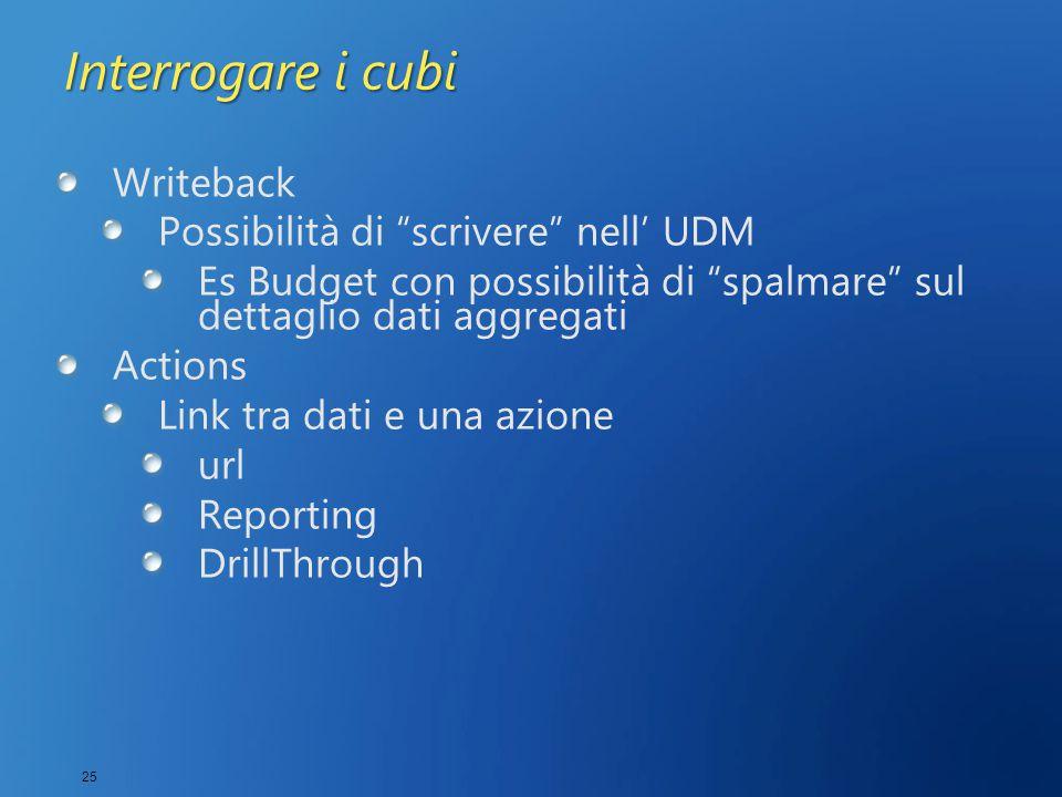 25 Interrogare i cubi Writeback Possibilità di scrivere nell' UDM Es Budget con possibilità di spalmare sul dettaglio dati aggregati Actions Link tra dati e una azione url Reporting DrillThrough