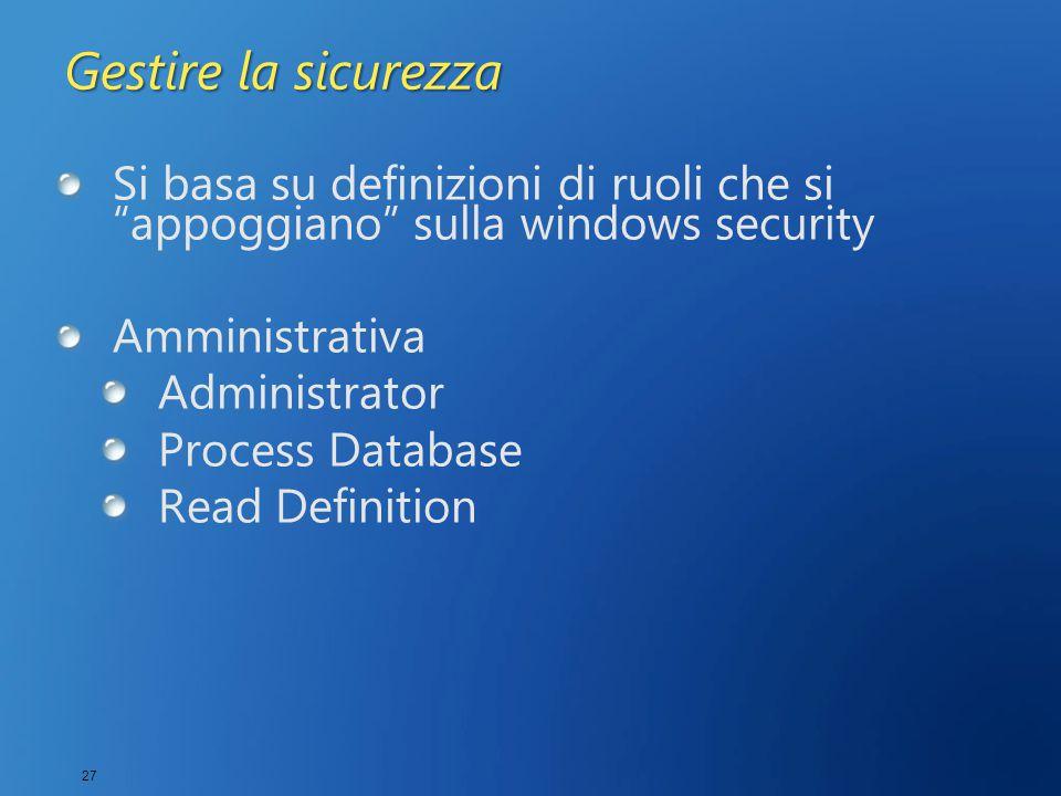 """27 Gestire la sicurezza Si basa su definizioni di ruoli che si """"appoggiano"""" sulla windows security Amministrativa Administrator Process Database Read"""