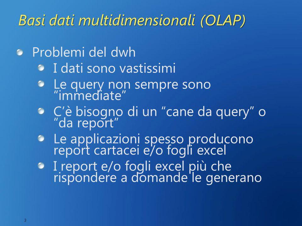 3 Basi dati multidimensionali (OLAP) Problemi del dwh I dati sono vastissimi Le query non sempre sono immediate C'è bisogno di un cane da query o da report Le applicazioni spesso producono report cartacei e/o fogli excel I report e/o fogli excel più che rispondere a domande le generano