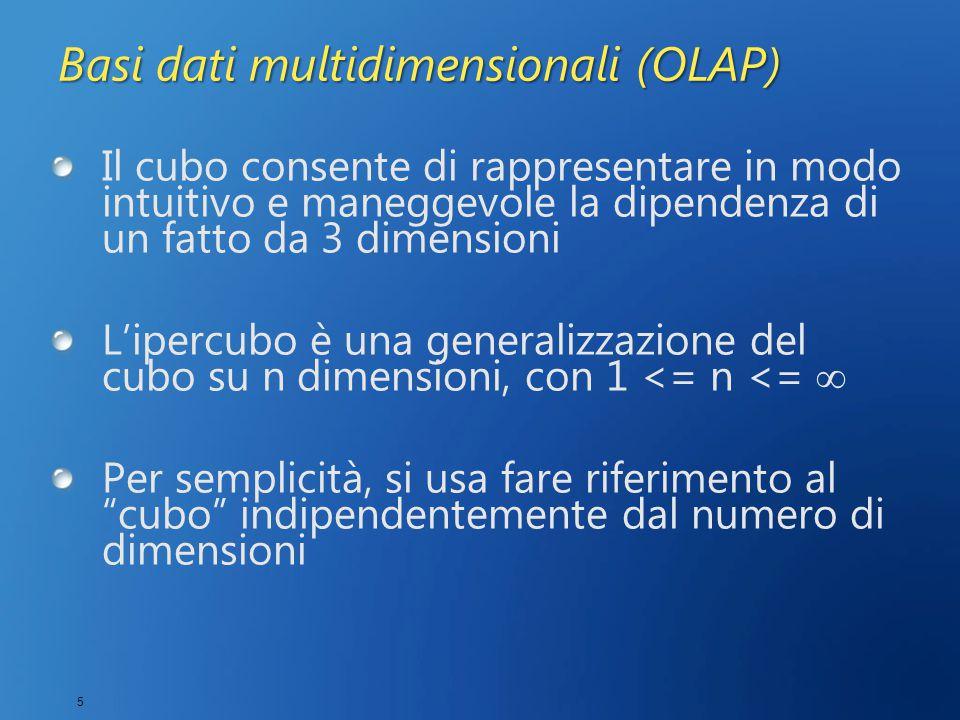 5 Basi dati multidimensionali (OLAP) Il cubo consente di rappresentare in modo intuitivo e maneggevole la dipendenza di un fatto da 3 dimensioni L'ipercubo è una generalizzazione del cubo su n dimensioni, con 1 <= n <=  Per semplicità, si usa fare riferimento al cubo indipendentemente dal numero di dimensioni