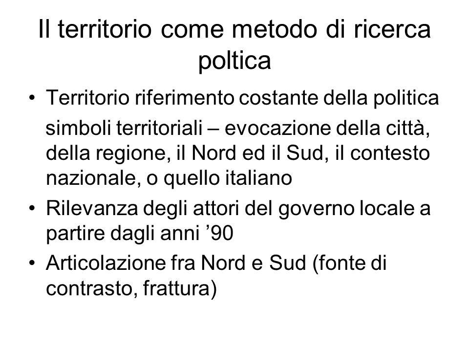 questione meridionale concepita come un limite per la costruzione dell'Italia I cambiamenti della politica contribuiscono a mutare profondamente la realtà del territorio e, viceversa, i cambiamenti territoriali concorrono a modificare profondamente la politica e i partiti