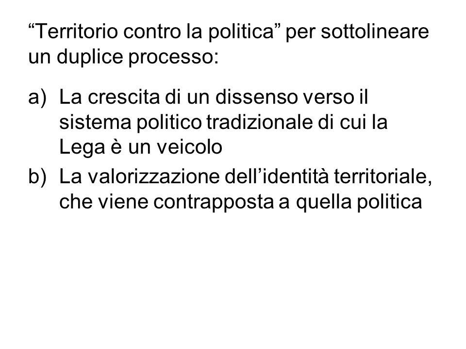 Territorio contro la politica per sottolineare un duplice processo: a)La crescita di un dissenso verso il sistema politico tradizionale di cui la Lega è un veicolo b)La valorizzazione dell'identità territoriale, che viene contrapposta a quella politica