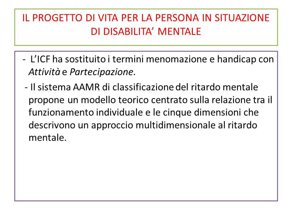 IL PROGETTO DI VITA PER LA PERSONA IN SITUAZIONE DI DISABILITA' MENTALE - L'ICF ha sostituito i termini menomazione e handicap con Attività e Partecipazione.