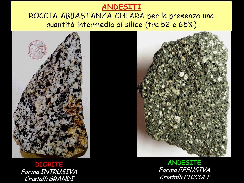ANDESITI ROCCIA ABBASTANZA CHIARA per la presenza una quantità intermedia di silice (tra 52 e 65%) DIORITE Forma INTRUSIVA Cristalli GRANDI ANDESITE F