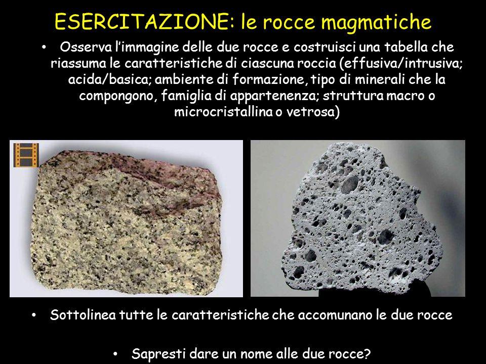 ESERCITAZIONE: le rocce magmatiche Osserva l'immagine delle due rocce e costruisci una tabella che riassuma le caratteristiche di ciascuna roccia (eff