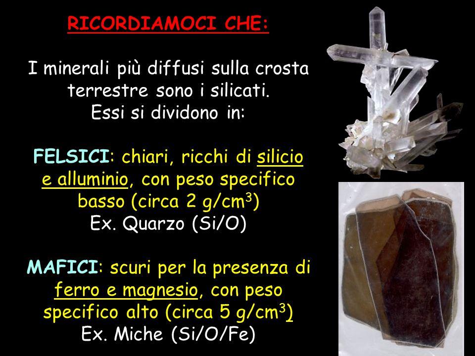 RICORDIAMOCI CHE: I minerali più diffusi sulla crosta terrestre sono i silicati. Essi si dividono in: FELSICI: chiari, ricchi di silicio e alluminio,