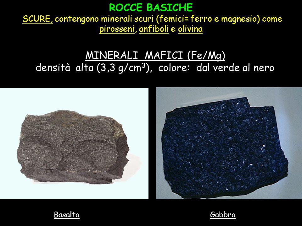 ROCCE BASICHE SCURE, contengono minerali scuri (femici= ferro e magnesio) come pirosseni, anfiboli e olivina MINERALI MAFICI (Fe/Mg) densità alta (3,3
