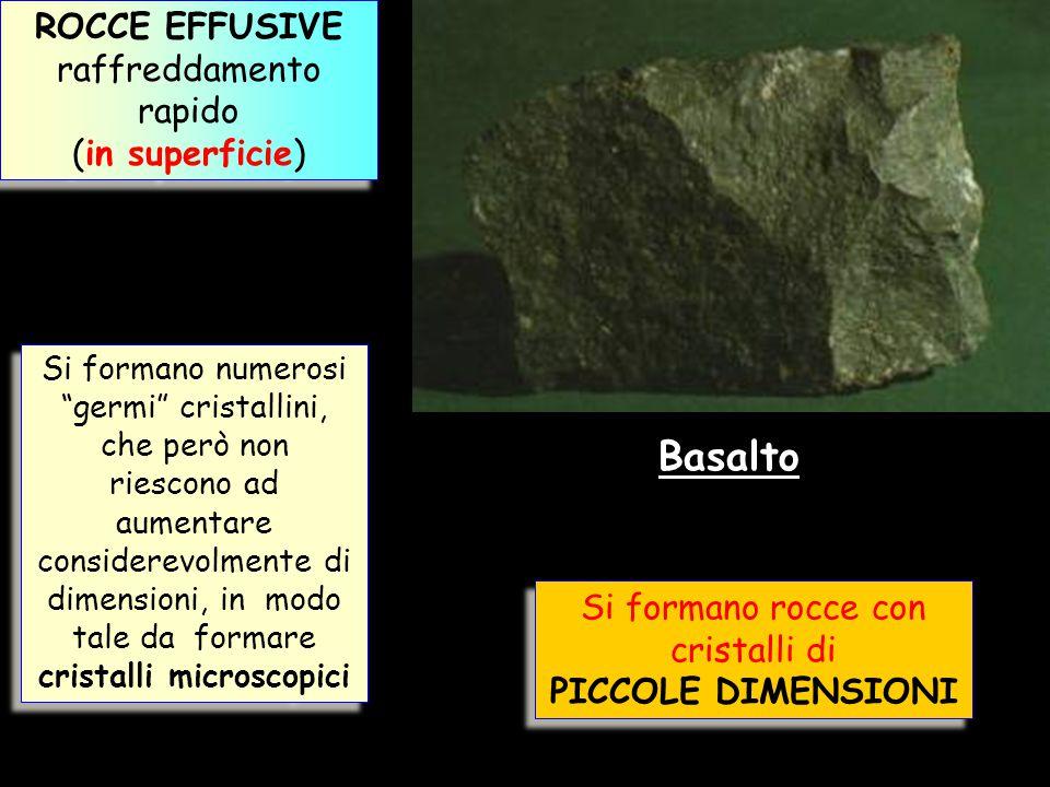 """ROCCE EFFUSIVE raffreddamento rapido (in superficie) ROCCE EFFUSIVE raffreddamento rapido (in superficie) Si formano numerosi """"germi"""" cristallini, che"""