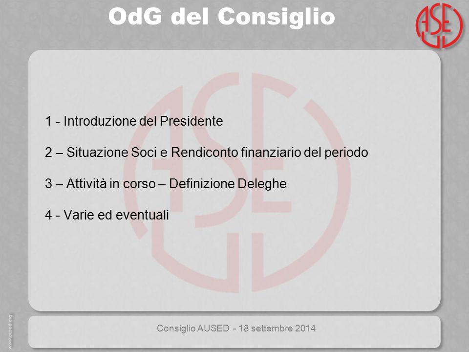 Consiglio AUSED - 18 settembre 2014 1 - Introduzione del Presidente 2 – Situazione Soci e Rendiconto finanziario del periodo 3 – Attività in corso – D