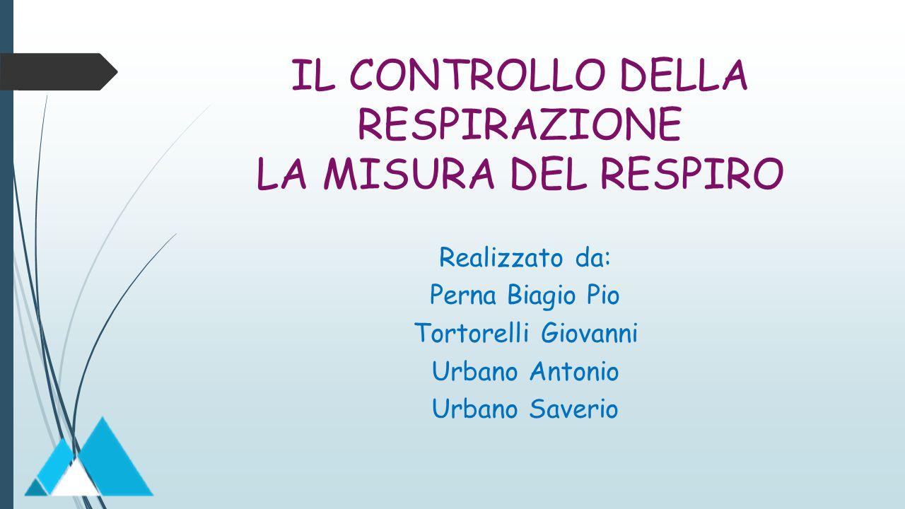IL CONTROLLO DELLA RESPIRAZIONE LA MISURA DEL RESPIRO Realizzato da: Perna Biagio Pio Tortorelli Giovanni Urbano Antonio Urbano Saverio