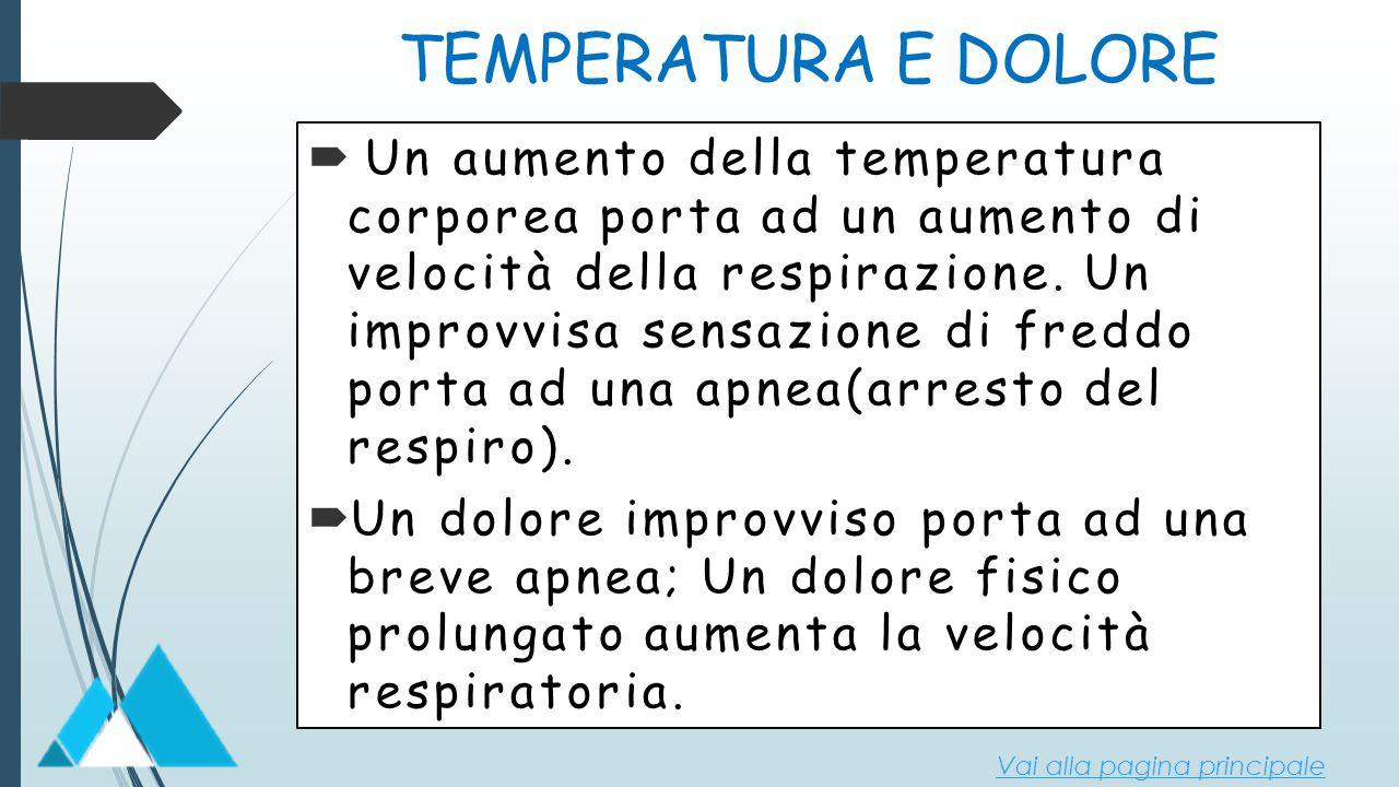 TEMPERATURA E DOLORE  Un aumento della temperatura corporea porta ad un aumento di velocità della respirazione. Un improvvisa sensazione di freddo po