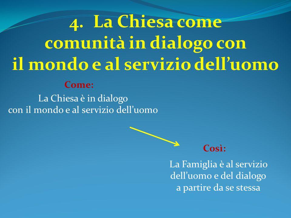 4.La Chiesa come comunità in dialogo con il mondo e al servizio dell'uomo La Chiesa è in dialogo con il mondo e al servizio dell'uomo Come: La Famigli