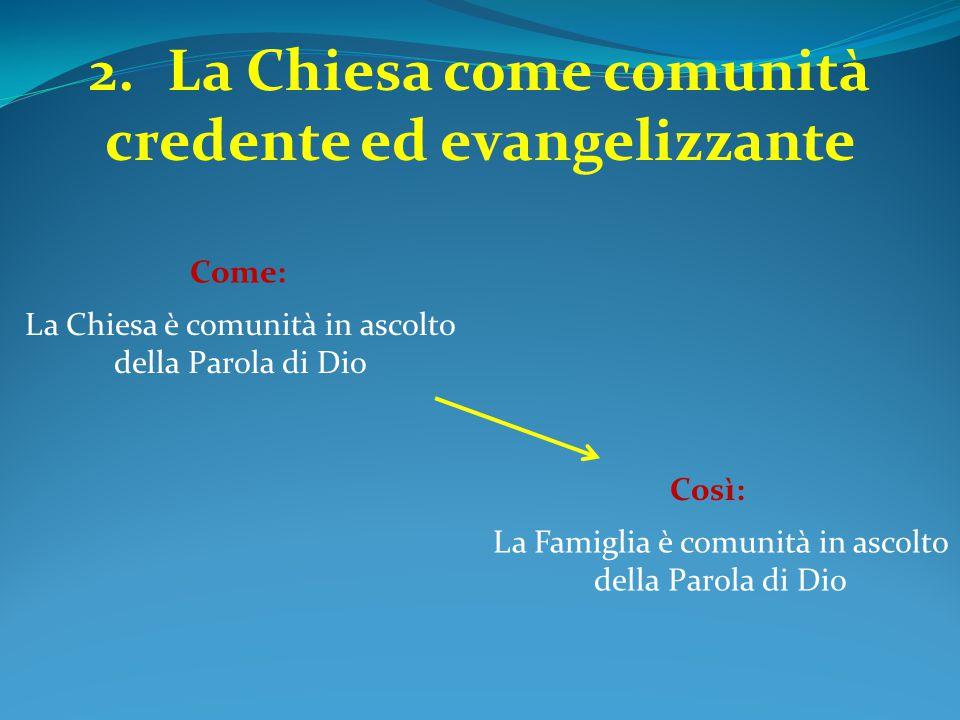2.La Chiesa come comunità credente ed evangelizzante La Chiesa è comunità in ascolto della Parola di Dio Come: La Famiglia è comunità in ascolto della