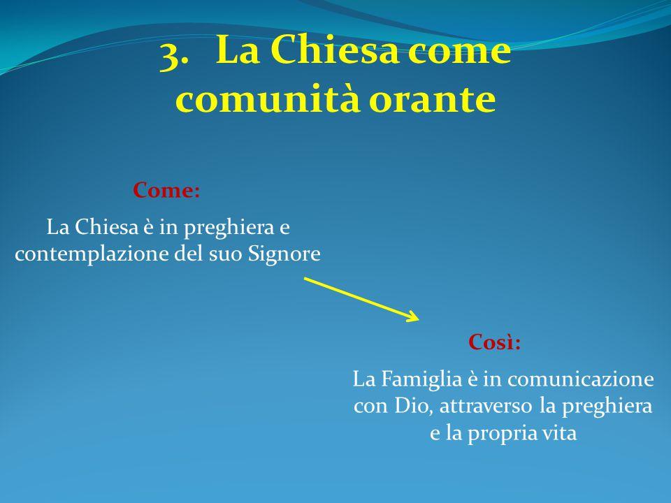 3.La Chiesa come comunità orante La Chiesa è in preghiera e contemplazione del suo Signore Come: La Famiglia è in comunicazione con Dio, attraverso la
