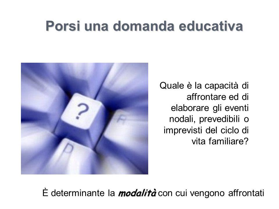 Porsi una domanda educativa modalità È determinante la modalità con cui vengono affrontati Quale è la capacità di affrontare ed di elaborare gli event