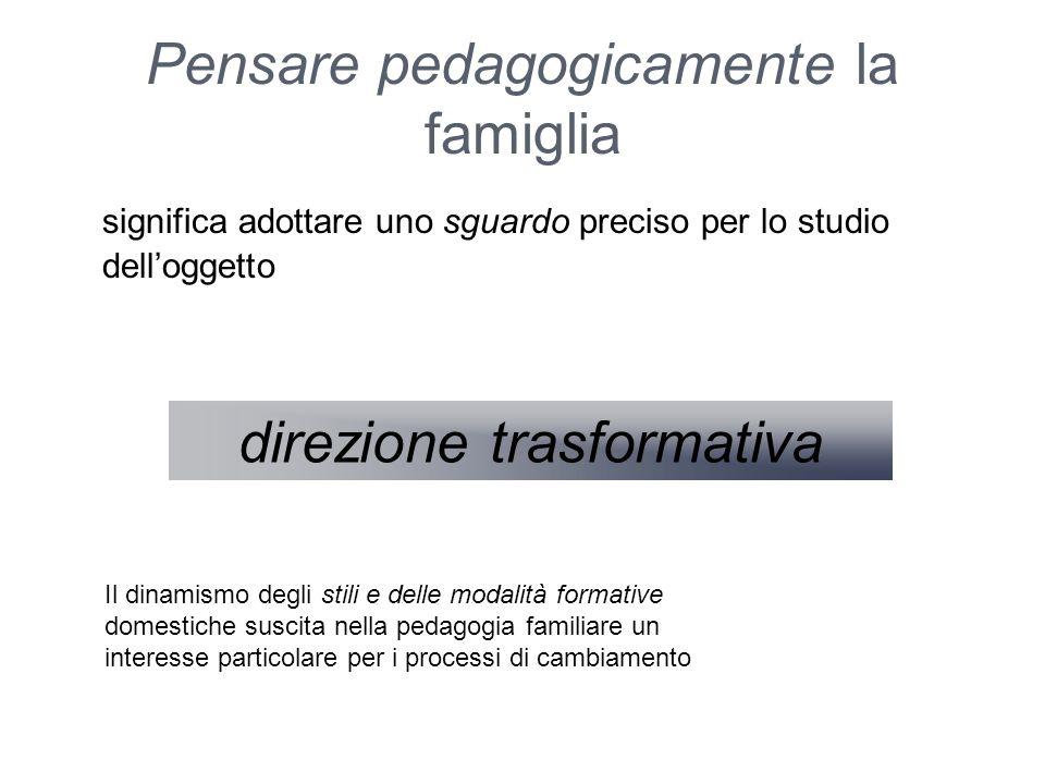 Pensare pedagogicamente la famiglia significa adottare uno sguardo preciso per lo studio dell'oggetto direzione trasformativa Il dinamismo degli stili