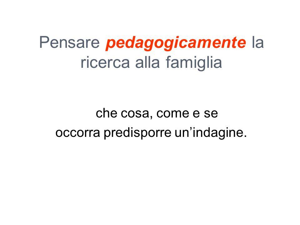Pensare pedagogicamente la ricerca alla famiglia che cosa, come e se occorra predisporre un'indagine.