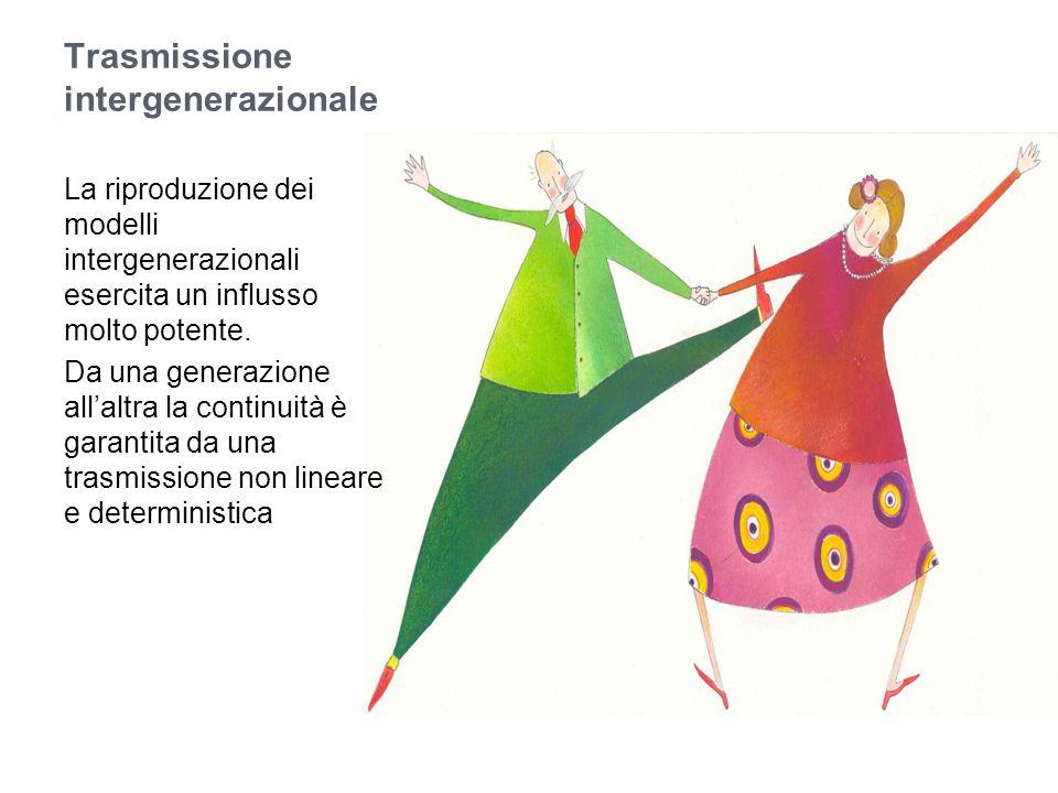 Trasmissione intergenerazionale La riproduzione dei modelli intergenerazionali esercita un influsso molto potente. Da una generazione all'altra la con