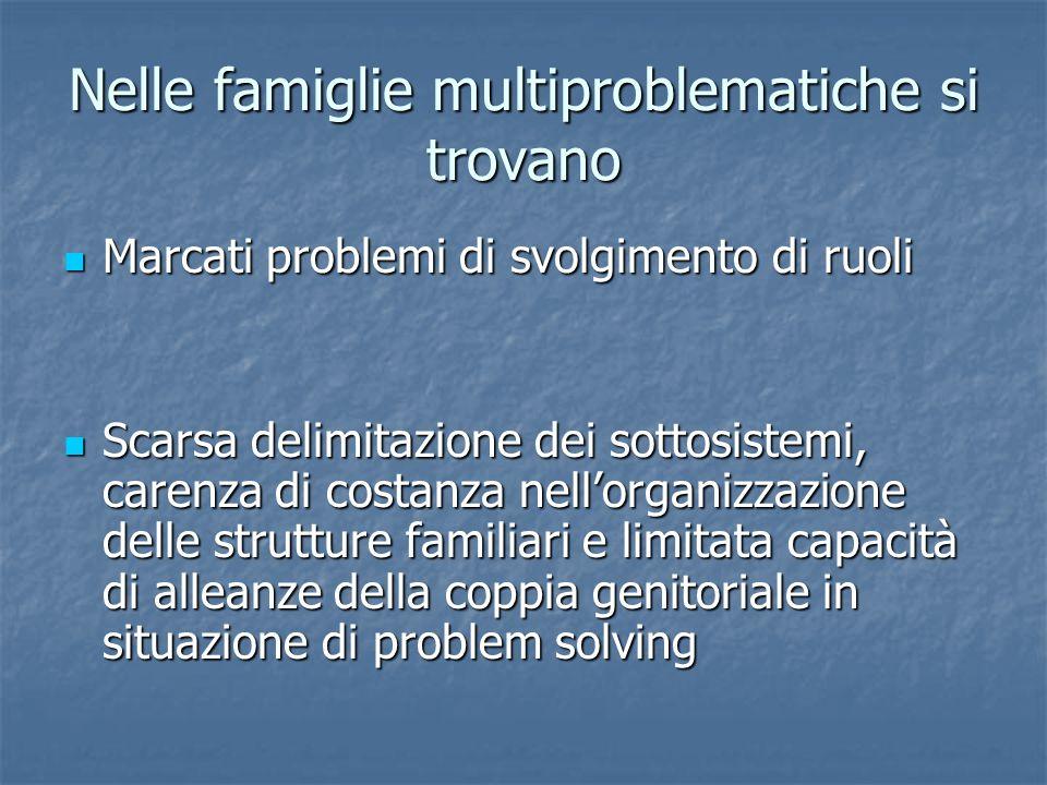 Nelle famiglie multiproblematiche si trovano Marcati problemi di svolgimento di ruoli Marcati problemi di svolgimento di ruoli Scarsa delimitazione de