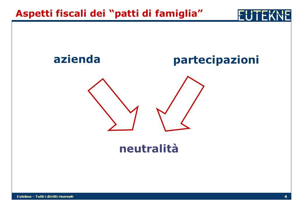 """Eutekne – Tutti i diritti riservati 4 Aspetti fiscali dei """"patti di famiglia"""" neutralità azienda partecipazioni"""