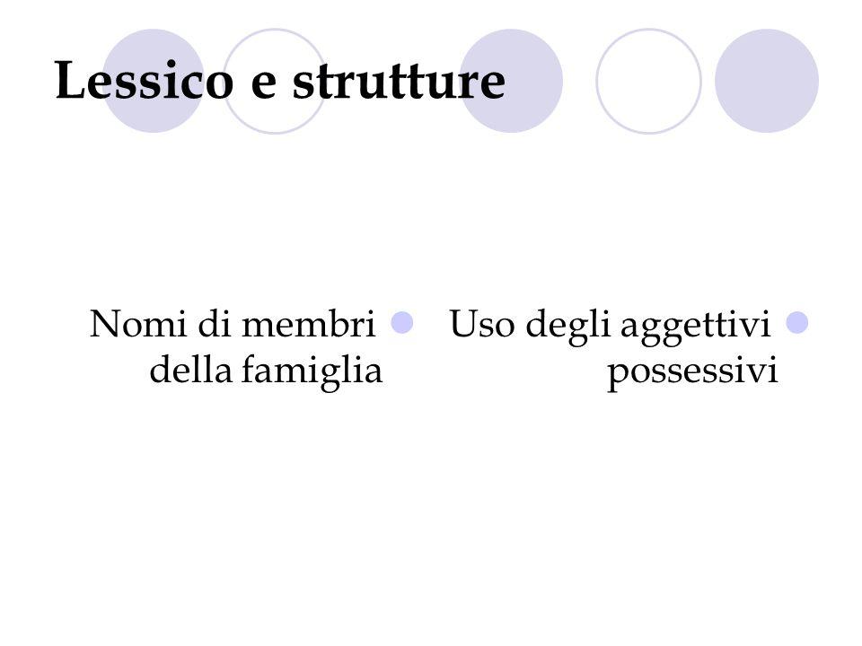 Lessico e strutture Nomi di membri della famiglia Uso degli aggettivi possessivi