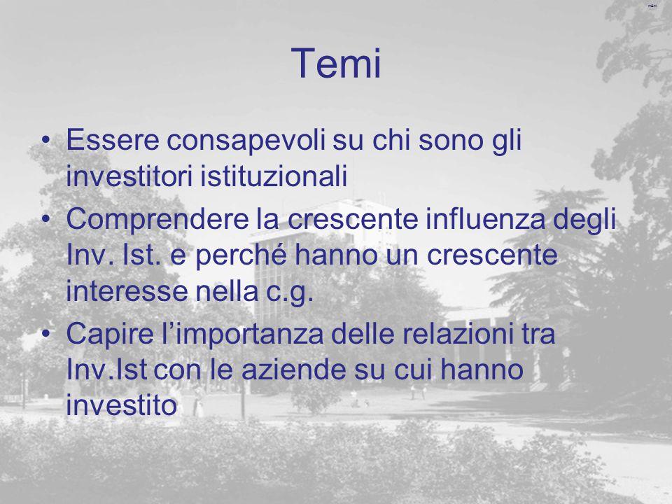 m&m Temi Essere consapevoli su chi sono gli investitori istituzionali Comprendere la crescente influenza degli Inv.