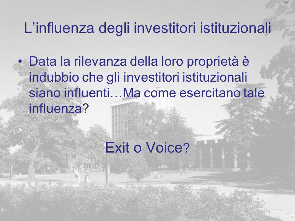 m&m L'influenza degli investitori istituzionali Data la rilevanza della loro proprietà è indubbio che gli investitori istituzionali siano influenti…Ma come esercitano tale influenza.