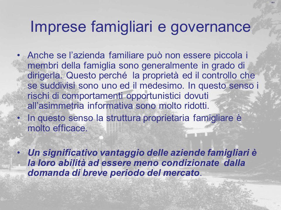 m&m Imprese famigliari e governance Anche se l'azienda familiare può non essere piccola i membri della famiglia sono generalmente in grado di dirigerla.