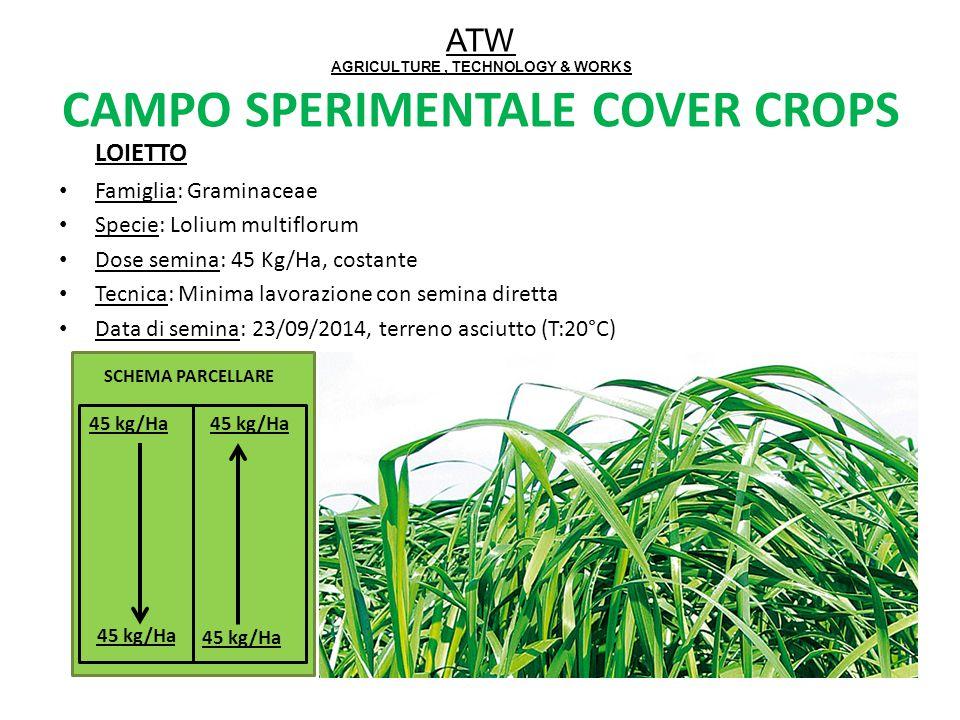 LOIETTO Famiglia: Graminaceae Specie: Lolium multiflorum Dose semina: 45 Kg/Ha, costante Tecnica: Minima lavorazione con semina diretta Data di semina