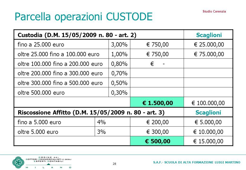 S.A.F.- SCUOLA DI ALTA FORMAZIONE LUIGI MARTINO 28 Parcella operazioni CUSTODE Custodia (D.M. 15/05/2009 n. 80 - art. 2) Scaglioni fino a 25.000 euro3