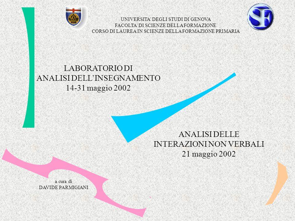 UNIVERSITA' DEGLI STUDI DI GENOVA FACOLTA' DI SCIENZE DELLA FORMAZIONE CORSO DI LAUREA IN SCIENZE DELLA FORMAZIONE PRIMARIA LABORATORIO DI ANALISI DELL'INSEGNAMENTO 14-31 maggio 2002 a cura di DAVIDE PARMIGIANI ANALISI DELLE INTERAZIONI NON VERBALI 21 maggio 2002