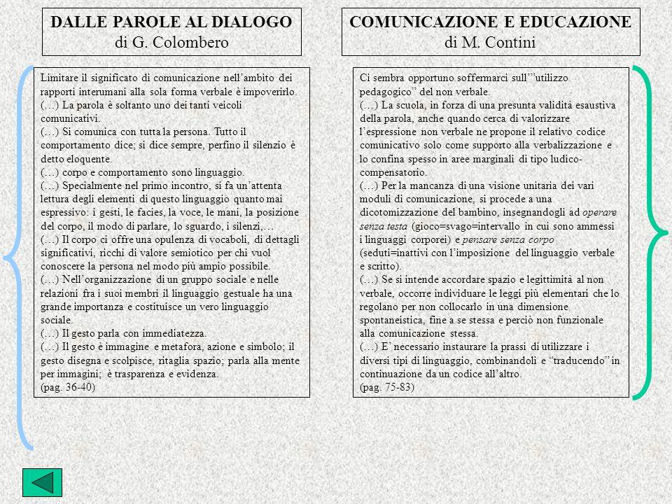 DALLE PAROLE AL DIALOGO di G.Colombero COMUNICAZIONE E EDUCAZIONE di M.