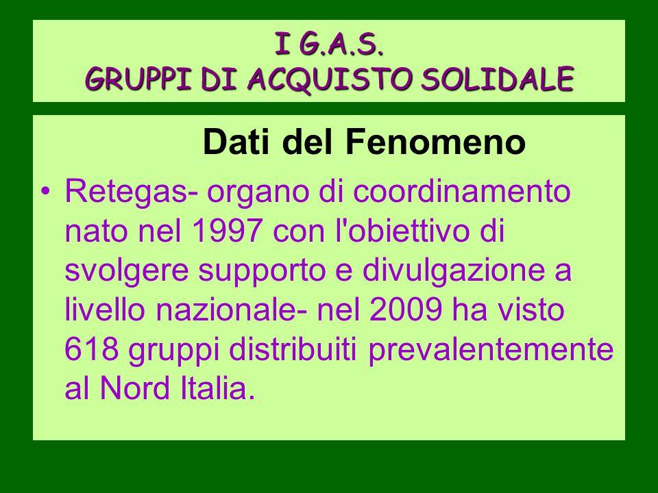 I G.A.S. GRUPPI DI ACQUISTO SOLIDALE Dati del Fenomeno Retegas- organo di coordinamento nato nel 1997 con l'obiettivo di svolgere supporto e divulgazi